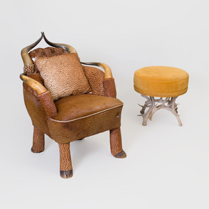 American Horn and Printed Hide Armchair and a Suede and Antler Foot Stool