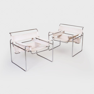 Pair of Marcel Breuer Chrome and Canvas 'Wassily' Chairs, Model No B3