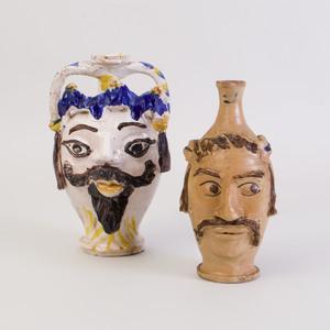 Two Caltagirone Ceramic Face Jugs