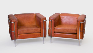 Pair of Corbusier Style Chrome and Leather Club Chairs