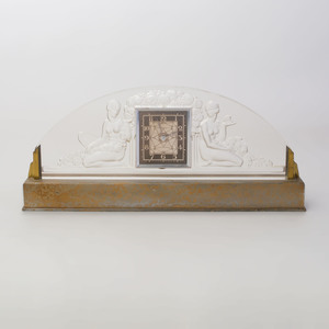 French Art Deco Brass-Mounted Glass Mantle Clock