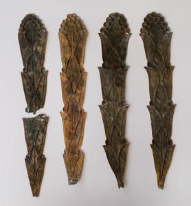 Set of Four Art Nouveau Gilt-Copper Leaf Form Ornaments