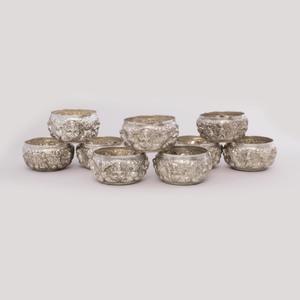 A Group of Ten Silver Thai Alms Bowls