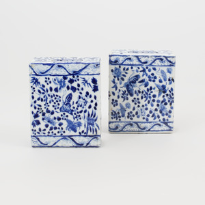 Pair of Chinese Blue and White Porcelain Flower Bricks