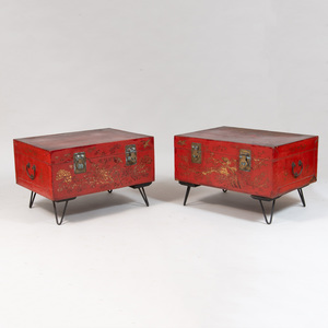 Two Chinese Red Painted Marriage Chests