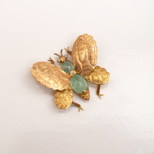 Buccellati 18k Gold and Aquamarine Butterfly Brooch