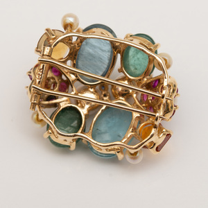 14k Gold and Colored Stone Brooch