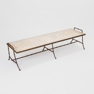 Faux Bamboo Brass and Capiz Shell Low Table, in the Style of Billy Haines