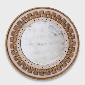 Modern Painted and Parcel-Gilt Circular Mirror
