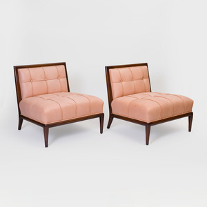 Pair of Nancy Corzine Mahogany and Leather Upholstered Slipper Chairs