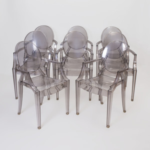 Set of Eight Phillipe Stark Lucite 'Ghost' Chairs for Kartell