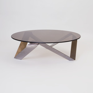 Stainless Steel and Smoky Glass Low Table