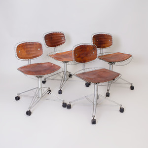 Set of Four Michel Cadestin and Georges Laurent Leather and Galvanized Steel 'Beaubourg' Desk Chairs
