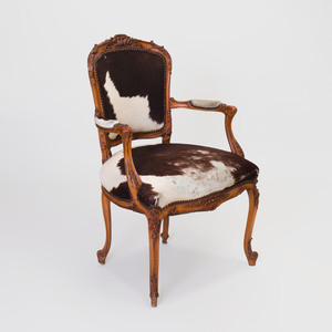 Louis XV Style Beechwood Fauteuil en Cabriolet, Upholstered in Hide