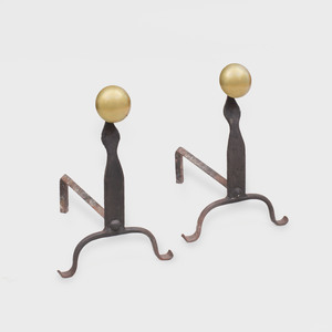 Pair of Arts and Crafts Wrought-Iron And Brass Andirons