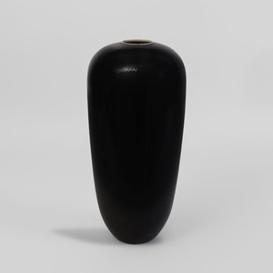 Japanese Black Glazed Ceramic Ovoid Vase