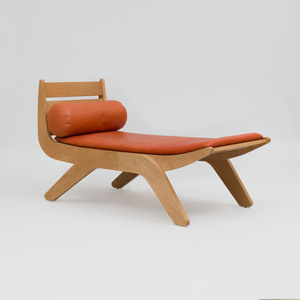 Birch and Leather Chaise Lounge