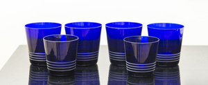 Set of Six Hermes Blue Glasses