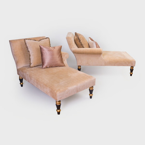 Pair of Regency Style Painted and Parcel-Gilt Upholstered Recamiers