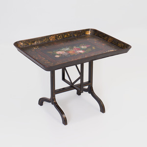 Victorian Papier Mâché Wood Tilt Top Tray on Stand