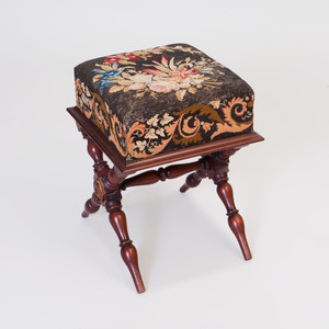 Victorian Style Mahogany and Needlework Stool
