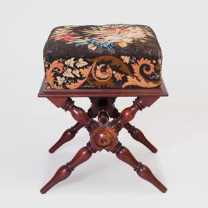 Victorian Style Mahogany and Needlework Stool