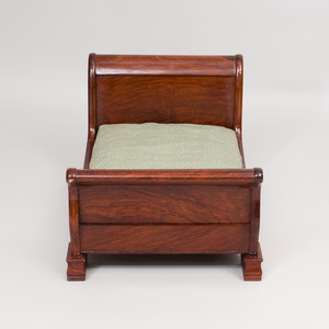 Louis Philippe Style Carved Mahogany Dog's Sleigh Bed