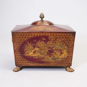 Regency Style Gilt Decorated Scarlet Ground Tôle Wood Bin and Cover