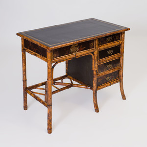 Brass-Mounted Bamboo and Lacquer Desk