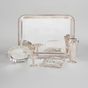 Christofle Silver Plate Rectangular Tray and Dragonfly Vase