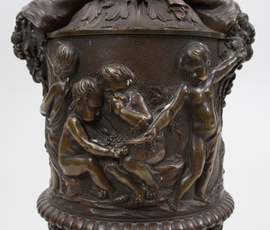 Continental Bronze Cup and Cover Decorated with Putti