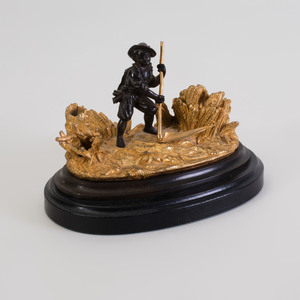 Continental Gilt and Patinated Bronze Inkwell
