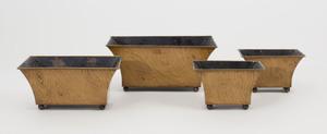 French Faux Bois Tôle Piente Four Piece Garniture Set