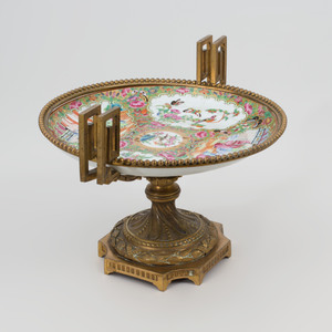 Chinese Export Canton Famille Rose Porcelain Gilt Metal-Mounted Tazza