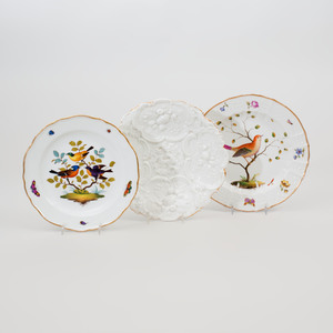 Two Meissen Porcelain Plates Decorated with Birds and a Meissen Flower Molded Porcelain Plate