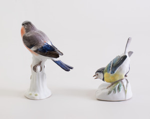 Meissen Porcelain Model of a Red Breasted Finch and a Blue Winged Sparrow