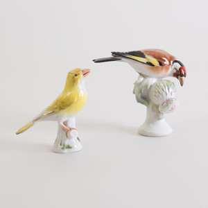 Meissen Porcelain Model of a Canary and a Bird on a Cactus