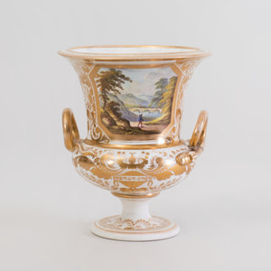 Derby Topographical Porcelain Campana Form Urn