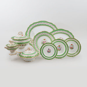 English Green Ground Porcelain  Part Dinner Service