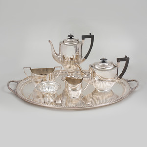 George V Silver Two Handled Tray and a Benetfink & Co. Silver Plate Four Piece Tea and Coffee Service