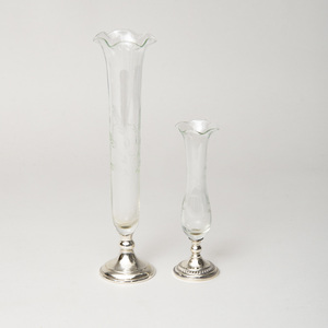 Two Silver-Mounted Glass Bud Vases