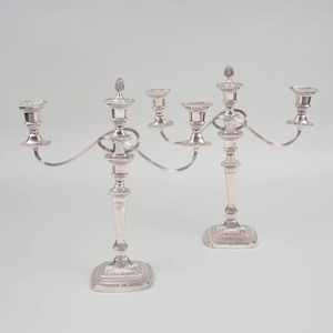 Pair of Silver Plate Three Light Candelabras