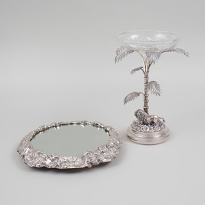 Silver Plate and Cut Glass Epergne and a Mirrored Stand