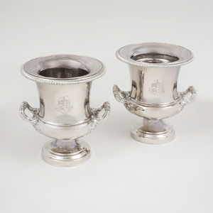 Pair of Silver Plate Wine Coolers Engraved with Crest