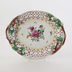 English Porcelain Chestnut Basket, Cover and Underplate