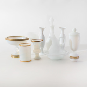 Group of Opaline Glass Table Wares