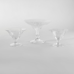 Lalique 'Virginia Peacock' Glass Tazza and a Pair of Simon Pearce Glass Tazzas
