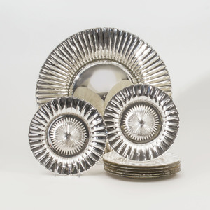 Group of Eight Mercury Glass Plates and a Charger