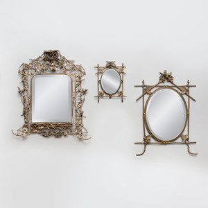 Group of Three Gilt and Silvered-Metal Dressing Mirrors