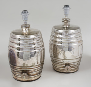 Pair of Mercury Glass Barrel Form Lamps